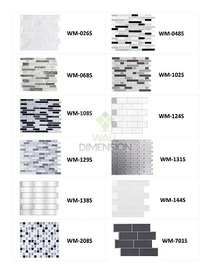 Wall Dimension 3D Vinyl Wall Tile Designer Sample Set