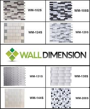 Wall Dimension 3D Vinyl Mosaic Tile Sample - 1 Sheet