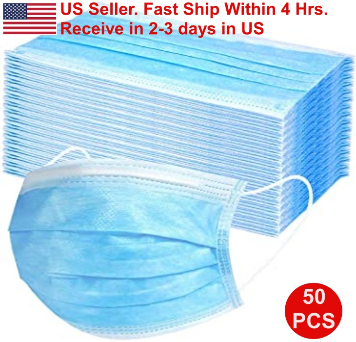 50PCS Disposable 3 Ply Mouth/Nose Shield Face Mask With Elastic Ear Loop